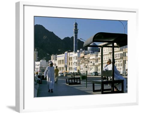 Omanis Walk and Sit Alongside Muttrah's Busy Corniche-John Warburton-lee-Framed Art Print