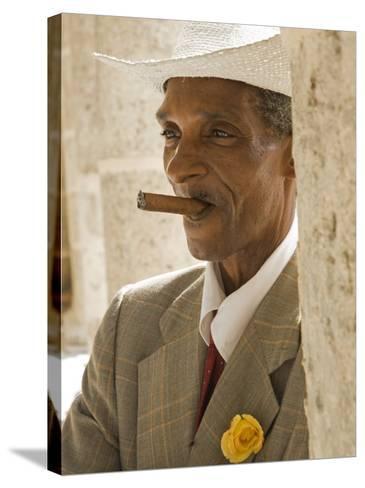Havana, Cuban Man, Plaza De La Catedral, Havana, Cuba-Paul Harris-Stretched Canvas Print