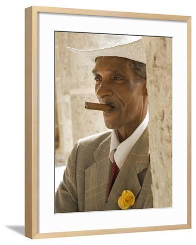 Havana, Cuban Man, Plaza De La Catedral, Havana, Cuba-Paul Harris-Framed Art Print