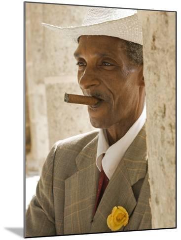 Havana, Cuban Man, Plaza De La Catedral, Havana, Cuba-Paul Harris-Mounted Photographic Print