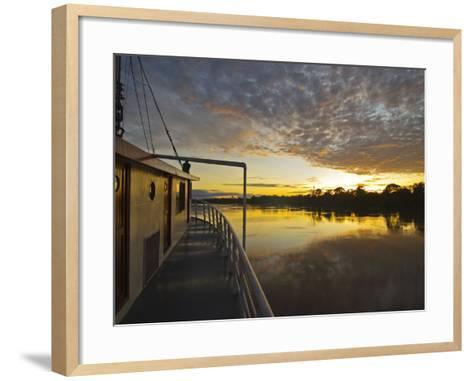 Amazon River, Sunrise on the Ayapua Riverboat, Yavari River, a Tributary of the Amazon River, Peru-Paul Harris-Framed Art Print