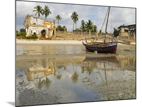 East Africa, Tanzania, Zanzibar, A Boat Moored on the Sands of Bagamoyo-Paul Harris-Mounted Photographic Print