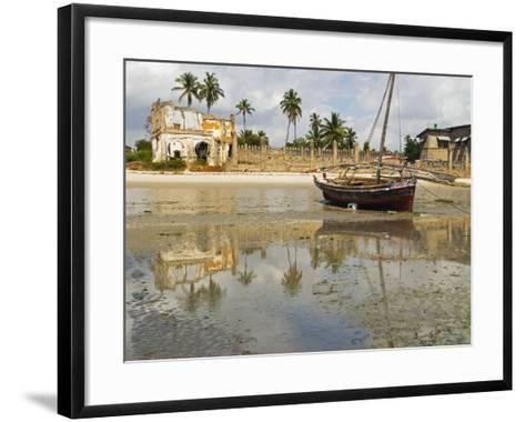 East Africa, Tanzania, Zanzibar, A Boat Moored on the Sands of Bagamoyo-Paul Harris-Framed Art Print