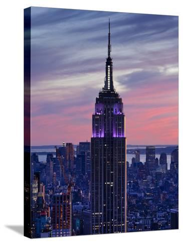New York City, Manhattan, View Towards Downtown; Empire State Building from Rockerfeller Centre, US-Gavin Hellier-Stretched Canvas Print