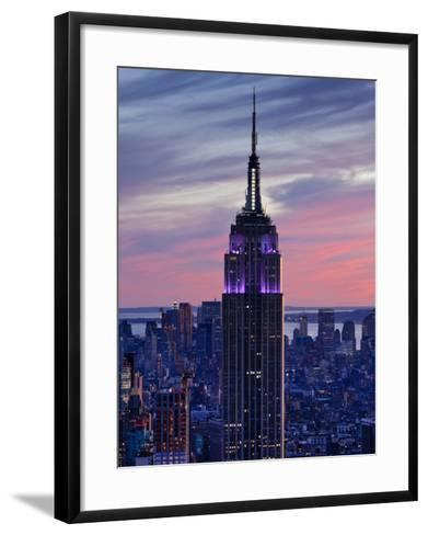 New York City, Manhattan, View Towards Downtown; Empire State Building from Rockerfeller Centre, US-Gavin Hellier-Framed Art Print