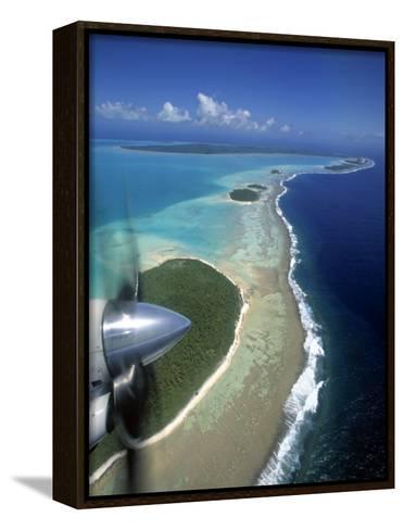 Lagoon and Beach, Aitutaki, Cook Islands-Walter Bibikow-Framed Canvas Print