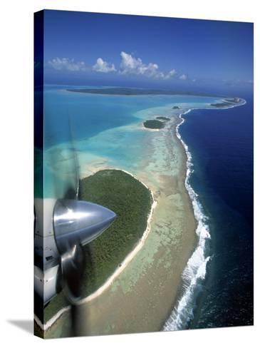 Lagoon and Beach, Aitutaki, Cook Islands-Walter Bibikow-Stretched Canvas Print