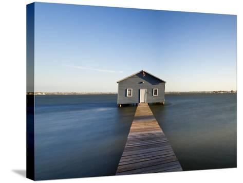 Swan River, Boat House and Jetty Perth, Wa, Western Australia, Australia-Peter Adams-Stretched Canvas Print