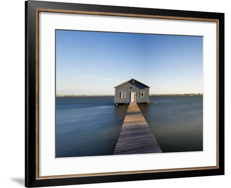 Swan River, Boat House and Jetty Perth, Wa, Western Australia, Australia-Peter Adams-Framed Art Print