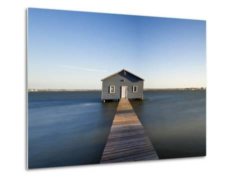 Swan River, Boat House and Jetty Perth, Wa, Western Australia, Australia-Peter Adams-Metal Print