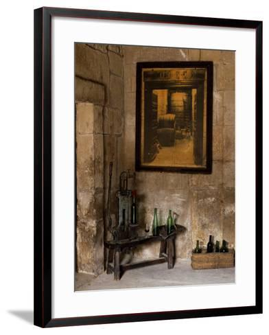Old Bottling Machine Inside a Disused Winery in the Village of Abalos-John Warburton-lee-Framed Art Print