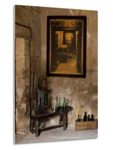 Old Bottling Machine Inside a Disused Winery in the Village of Abalos-John Warburton-lee-Metal Print