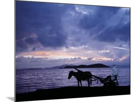 Dawn at Lake Ziway, Central Ethiopia, with the Silhouette of a Horse-Drawn Buggy-Nigel Pavitt-Mounted Photographic Print
