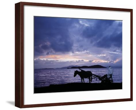 Dawn at Lake Ziway, Central Ethiopia, with the Silhouette of a Horse-Drawn Buggy-Nigel Pavitt-Framed Art Print
