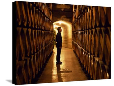 Foreman of Works Inspects Barrels of Rioja Wine in the Underground Cellars at Muga Winery-John Warburton-lee-Stretched Canvas Print