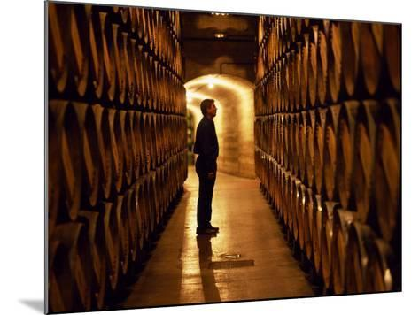 Foreman of Works Inspects Barrels of Rioja Wine in the Underground Cellars at Muga Winery-John Warburton-lee-Mounted Photographic Print