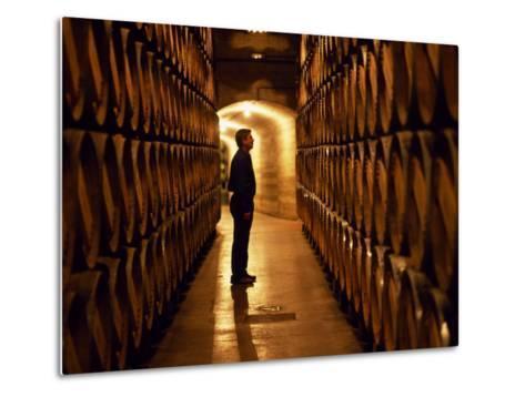Foreman of Works Inspects Barrels of Rioja Wine in the Underground Cellars at Muga Winery-John Warburton-lee-Metal Print