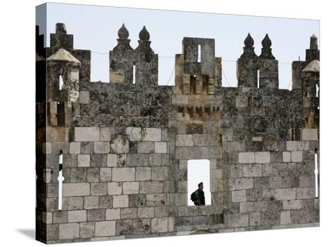 Israeli Soldier at Damascus Gate, Jerusalem, Israel, Middle East-Godong-Stretched Canvas Print
