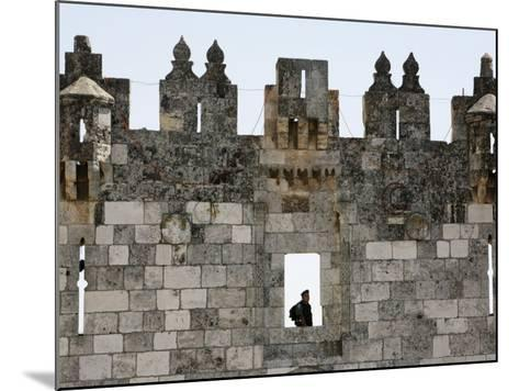 Israeli Soldier at Damascus Gate, Jerusalem, Israel, Middle East-Godong-Mounted Photographic Print
