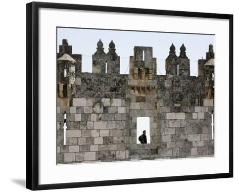 Israeli Soldier at Damascus Gate, Jerusalem, Israel, Middle East-Godong-Framed Art Print