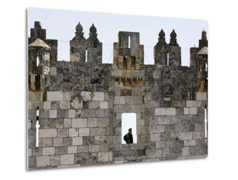 Israeli Soldier at Damascus Gate, Jerusalem, Israel, Middle East-Godong-Metal Print