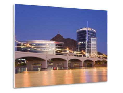 Town Lake and Mill Avenue Bridge, Tempe, Greater Phoenix Area, Arizona-Richard Cummins-Metal Print