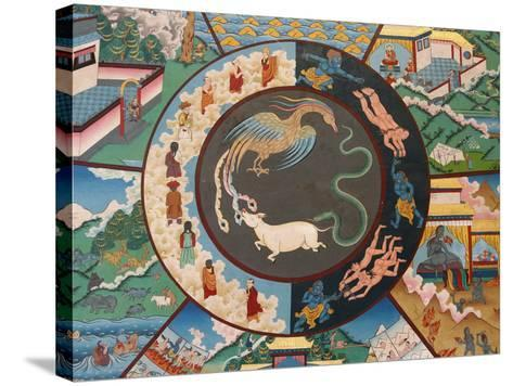 Wheel of Life Showing Rooster, Snake and Pig, Kopan Monastery, Kathmandu-Godong-Stretched Canvas Print