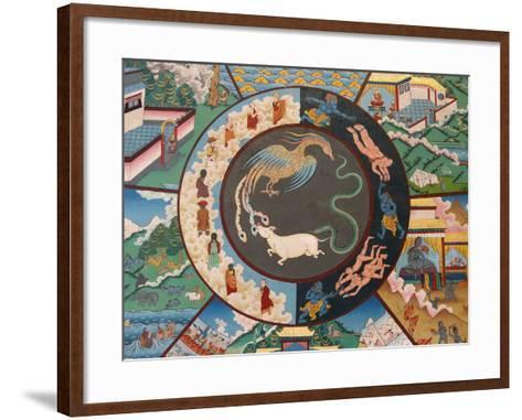 Wheel of Life Showing Rooster, Snake and Pig, Kopan Monastery, Kathmandu-Godong-Framed Art Print