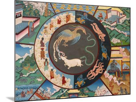 Wheel of Life Showing Rooster, Snake and Pig, Kopan Monastery, Kathmandu-Godong-Mounted Photographic Print