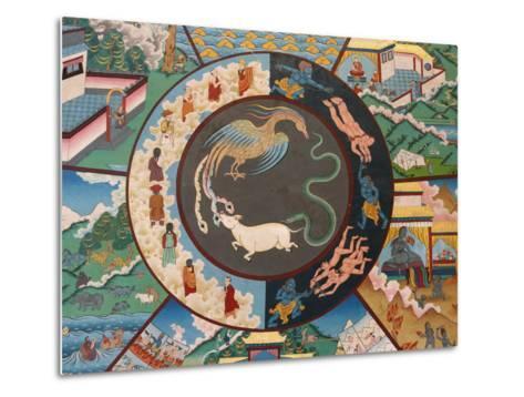 Wheel of Life Showing Rooster, Snake and Pig, Kopan Monastery, Kathmandu-Godong-Metal Print