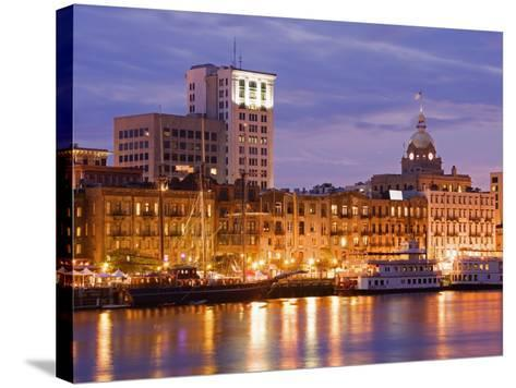 City Skyline and Savannah River, Savannah, Georgia, United States of America, North America-Richard Cummins-Stretched Canvas Print