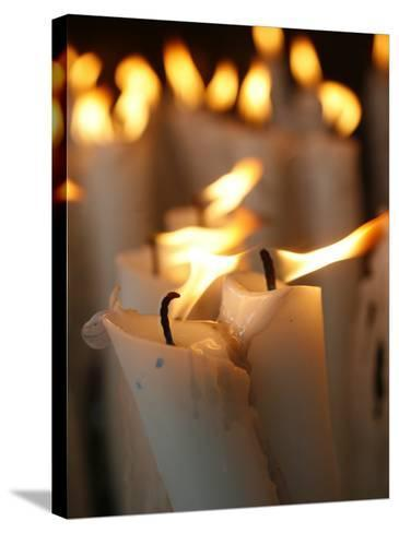 Candles at the Lourdes Shrine, Lourdes, Hautes Pyrenees, France, Europe-Godong-Stretched Canvas Print