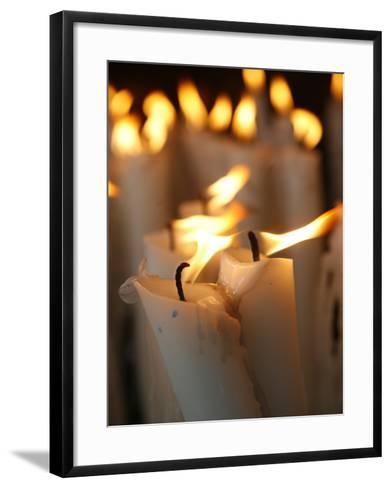 Candles at the Lourdes Shrine, Lourdes, Hautes Pyrenees, France, Europe-Godong-Framed Art Print