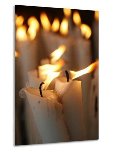 Candles at the Lourdes Shrine, Lourdes, Hautes Pyrenees, France, Europe-Godong-Metal Print