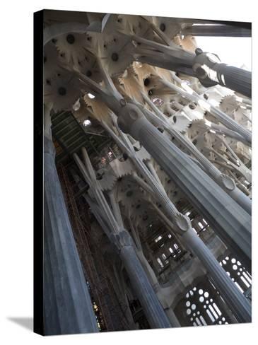 Interior with Columns and Windows, La Sagrada Familia Church, Barcelona, Catalonia, Spain, Europe-Nick Servian-Stretched Canvas Print