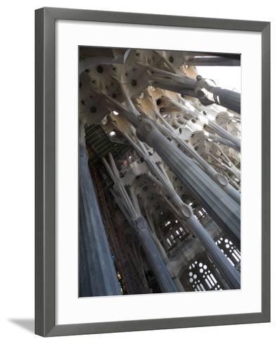 Interior with Columns and Windows, La Sagrada Familia Church, Barcelona, Catalonia, Spain, Europe-Nick Servian-Framed Art Print