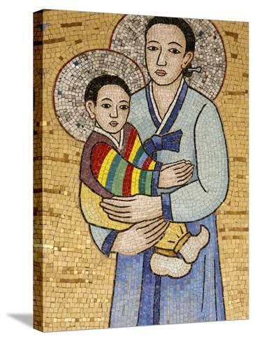 Mosaic of Korean Virgin, Annunciation Basilica, Nazareth, Galilee, Israel, Middle East-Godong-Stretched Canvas Print