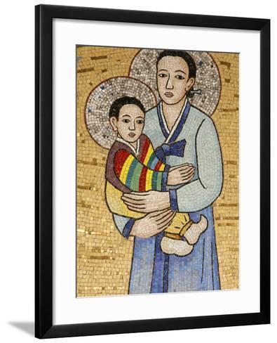 Mosaic of Korean Virgin, Annunciation Basilica, Nazareth, Galilee, Israel, Middle East-Godong-Framed Art Print