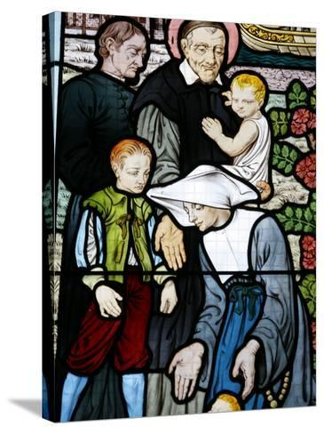 Stained Glass Depicting St. Vincent De Paul, Founder of the Daughters of Charity Congregation-Godong-Stretched Canvas Print