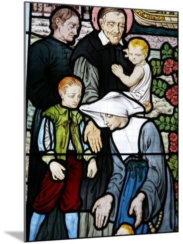 Stained Glass Depicting St. Vincent De Paul, Founder of the Daughters of Charity Congregation-Godong-Mounted Photographic Print