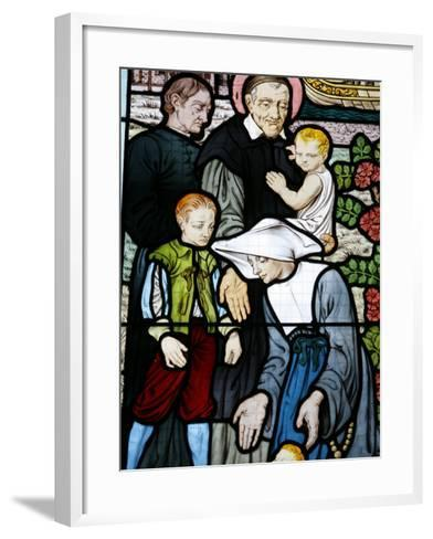 Stained Glass Depicting St. Vincent De Paul, Founder of the Daughters of Charity Congregation-Godong-Framed Art Print