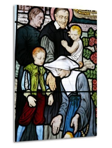 Stained Glass Depicting St. Vincent De Paul, Founder of the Daughters of Charity Congregation-Godong-Metal Print