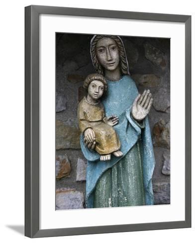 Statue of Virgin and Child Outside Saint-Pierre De Solesmes Abbey, Solesmes-Godong-Framed Art Print