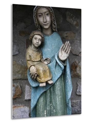Statue of Virgin and Child Outside Saint-Pierre De Solesmes Abbey, Solesmes-Godong-Metal Print