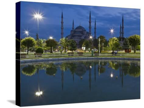 Blue Mosque in Evening, Reflected in Pond, Sultanahmet Square, Istanbul, Turkey, Europe-Martin Child-Stretched Canvas Print