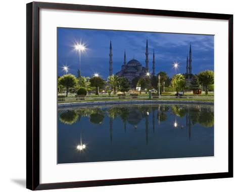 Blue Mosque in Evening, Reflected in Pond, Sultanahmet Square, Istanbul, Turkey, Europe-Martin Child-Framed Art Print