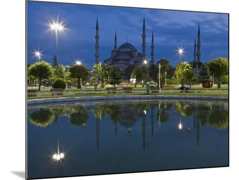 Blue Mosque in Evening, Reflected in Pond, Sultanahmet Square, Istanbul, Turkey, Europe-Martin Child-Mounted Photographic Print