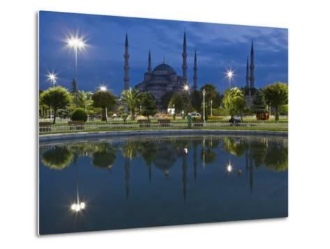 Blue Mosque in Evening, Reflected in Pond, Sultanahmet Square, Istanbul, Turkey, Europe-Martin Child-Metal Print