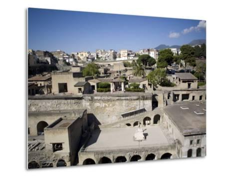 View over the Ecolano Excavations with Mount Vesuvius in the Background, Herculaneum, Campania-Oliviero Olivieri-Metal Print