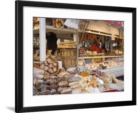 Stall Selling Cheese, Fruit Cake and Sausages at Christmas Market on Maxheinhardtplatz-Richard Nebesky-Framed Art Print